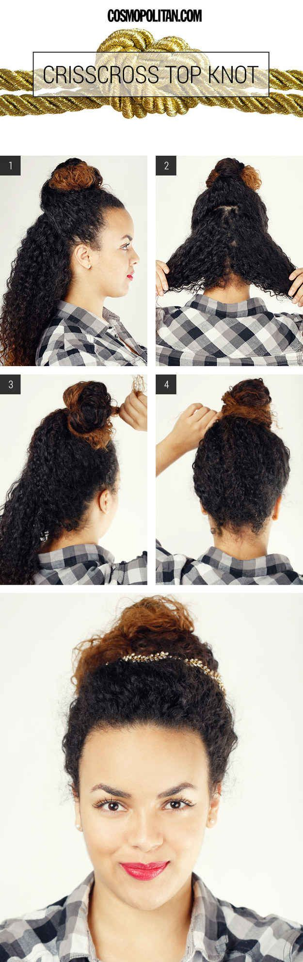 Criss-cross curly hair to keep it full. | 19 Ways To Take Your Top Knot Game To The Next Level