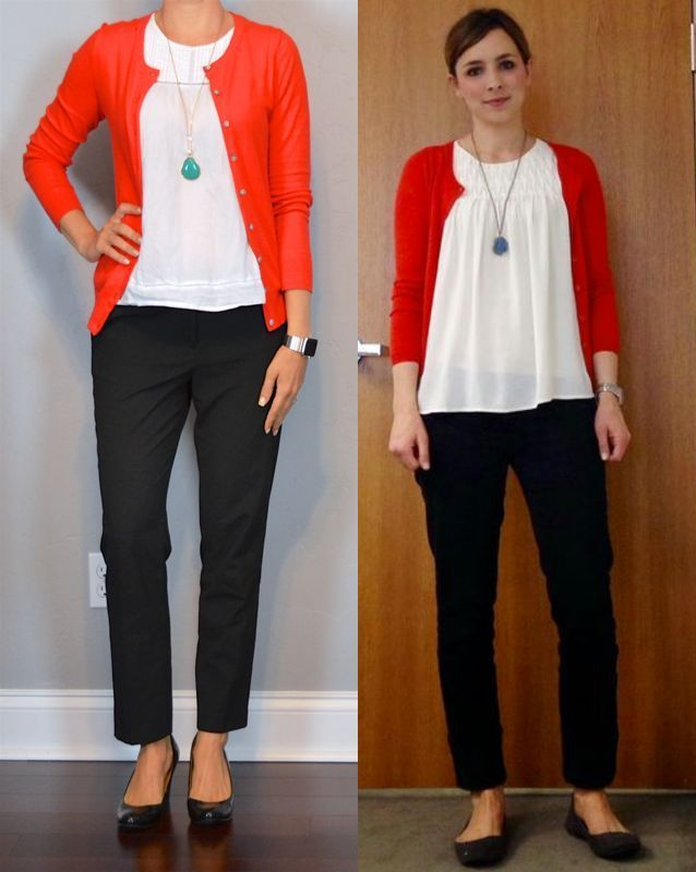 outfit post: red cardigan white blouse black cropped pants teal necklace outf …