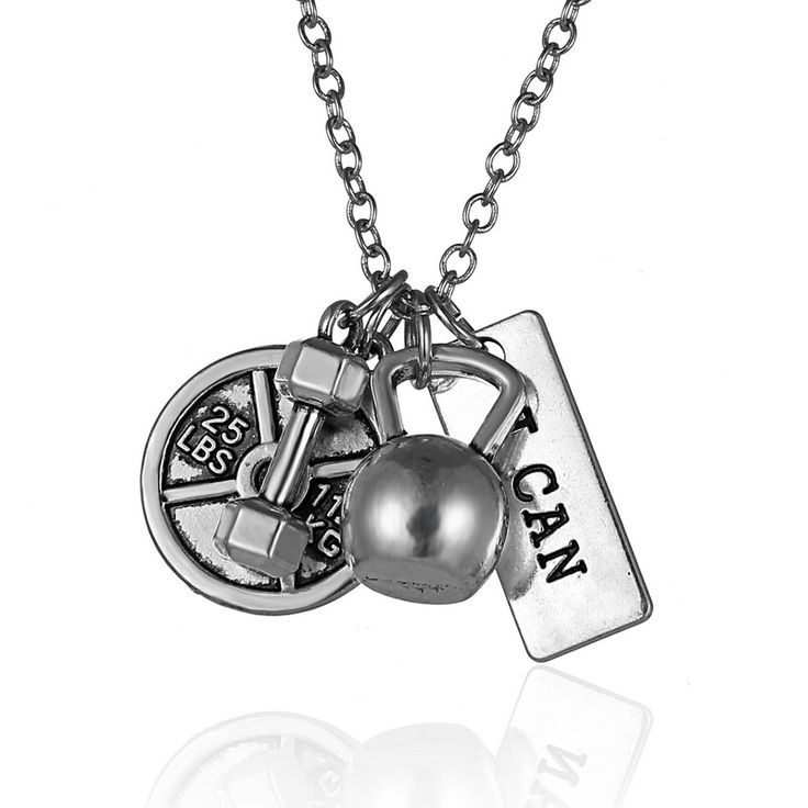 New Arriver Men's dumbbell pendant necklaces lettering I can dumbbell men jewelry sports necklace fashion gifts fitness barbell