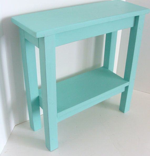 end table narrow side table painted furniture wood table night stand beach cottage decor aqua blue