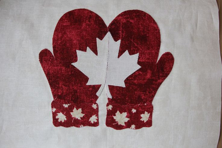 """Canadian Mittens"" block designed by Dale Anderson of Wee Folks Heirloom Quilt Shoppe for the Northcott Trans-Canada block challenge. Made the top ten from all across Canada!"