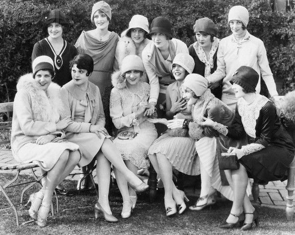 1928, Actresses at Mary Pickford's Tea Party (Image © John Springer Collection/CORBIS)  Back row, Alice Day, June Collyer, Dorothy Gulliver, Gwen Lee, Molly O'Day, and Sally Eilers. Front row, Sue Carol, Lina Basquette, Mary Pickford, Lupe Velez, Flora Bramley, and Ann Christy.