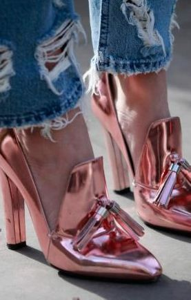 It's the pink moment with these metallic loafer pumps.