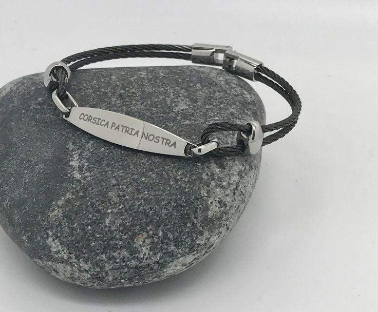 """bracelet homme ,corse """"CORSICA PATRIA NOSTRA """" en cable et plaque gravée : Bracelet par made-with-love-in-aiacciu"""