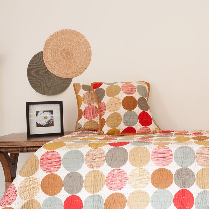 Single Reversible Polka Dot Quilt / Bedspread Set | The Hues of India