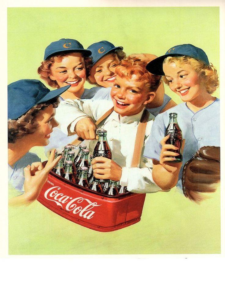 COCA COLA  GIRLS SOFTBALL TEAM PIC 1952 vintage CALENDAR ad coke bottle basebal #COCACOLA
