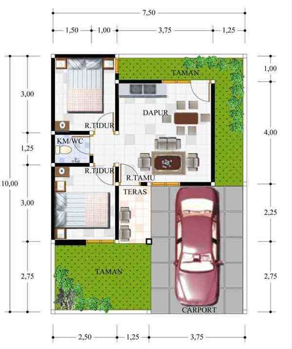 Denah Rumah Minimalis Type 21 60 Desain 1 2