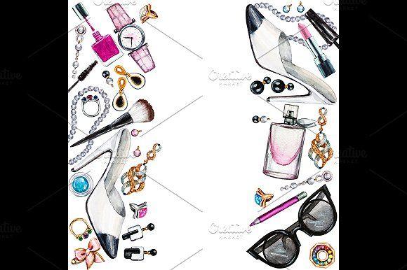 Three borders of female accessories by Svetlana Kazakova on @creativemarket