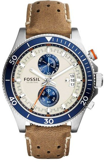 Fossil 'Wakefield' Chronograph Leather Strap Watch, 45mm