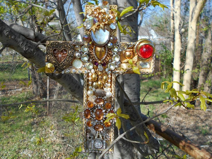 """Jeweled Cross, 9"""" Cross, Cross made with Old Jewelry, Chaos to Christ Jewelry, Handmade OOAK Cross by ChaostoChrist on Etsy"""