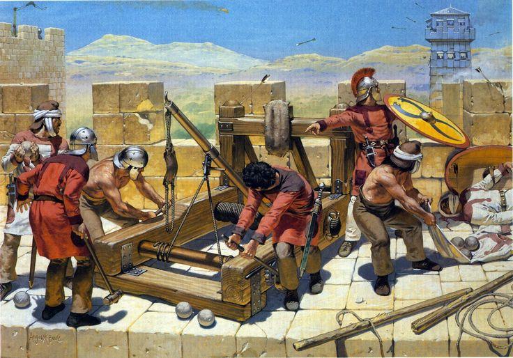 Roman garrison troops defending a town during Attila the Hun's siege