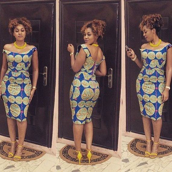African Off Shoulder Midi Dress African by AfricanModernFashio