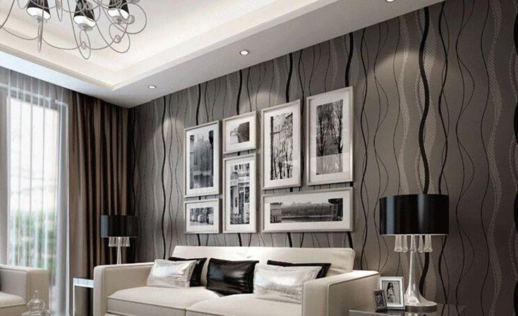 modern living room wallpaper ideas black grey color   home