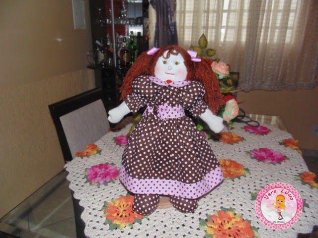 Vera Farias Arte e Design: Boneca Marron e Rosa (45cm)