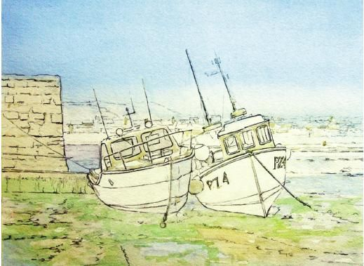Painting boats in harbour