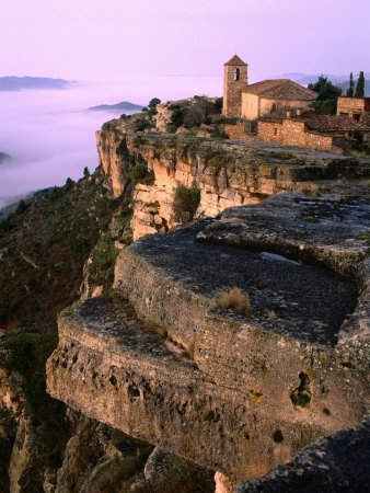 Morning Fog Below Village Chuch Close to Edge of Rock Cliff, Siurana, Catalonia, Spain