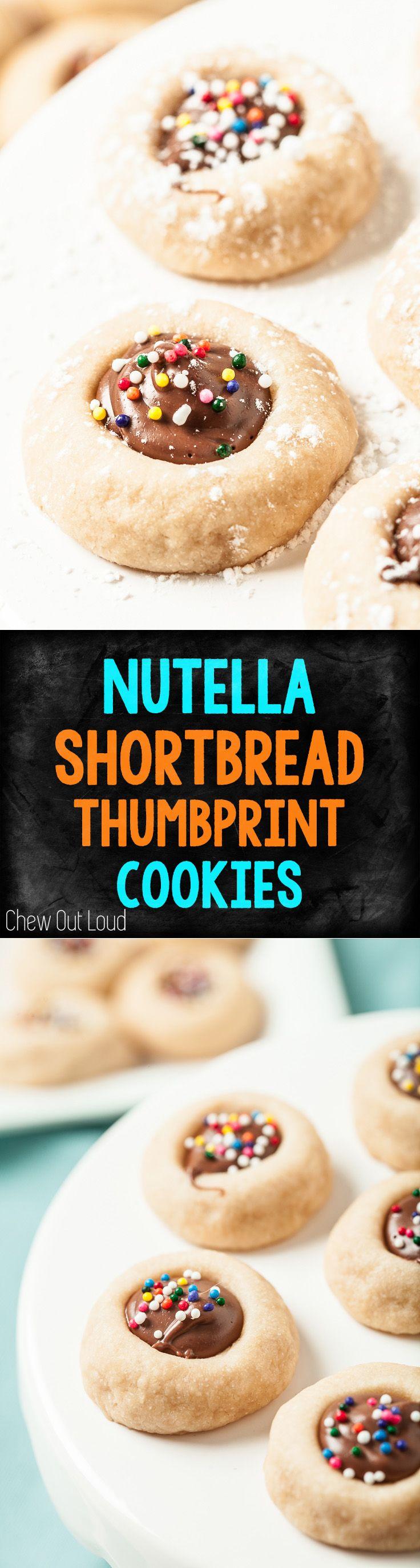4-Ingredient Nutella Thumbprint Shortbread Cookies! So easy, incredibly delish. #nutella #shortbread #cookies #dessert