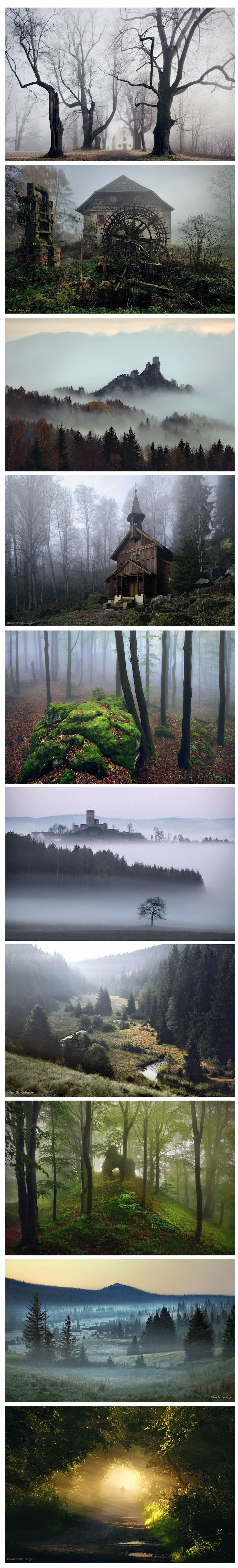 German photographer Killian Schoenberger has utilized moody landscape and old stories of his childhood homeland to create a series of photographic illustrations inspired by the fairy tales of the Brothers Grimm. Shot in remote rural areas of Middle Europe dominated by images of haunting fog, gnarled trees and dark homes you hope are abandoned. His exemplary work as a photographer is made even more impressive by the fact that he is colorblind.