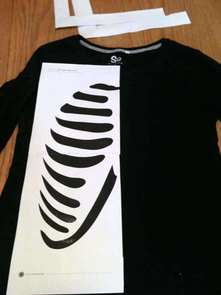 Skeleton Costume Template | Then, cut out the black portions of the template.