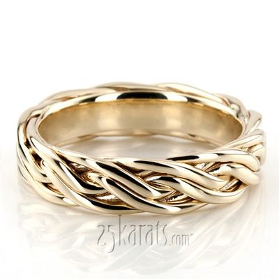 14K Gold Fancy Braided Wedding Ring Extravagant! This 6.5mm wide Hand Braided wedding band has a series of interwoven braids. The band is glass bead finished.