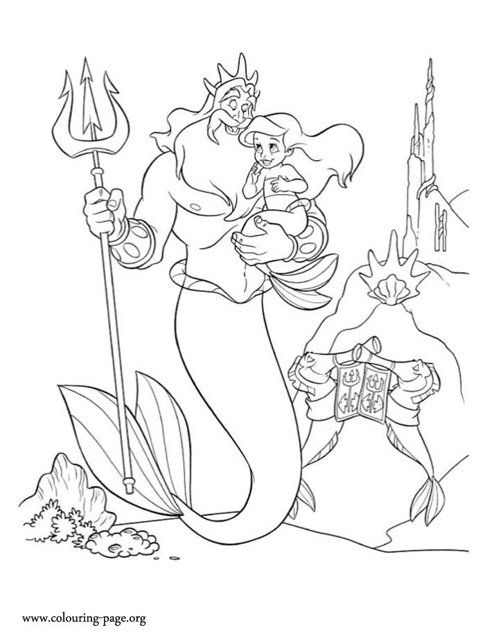 The Young Princess Ariel Loves Her Father King Triton Have Fun Coloring This