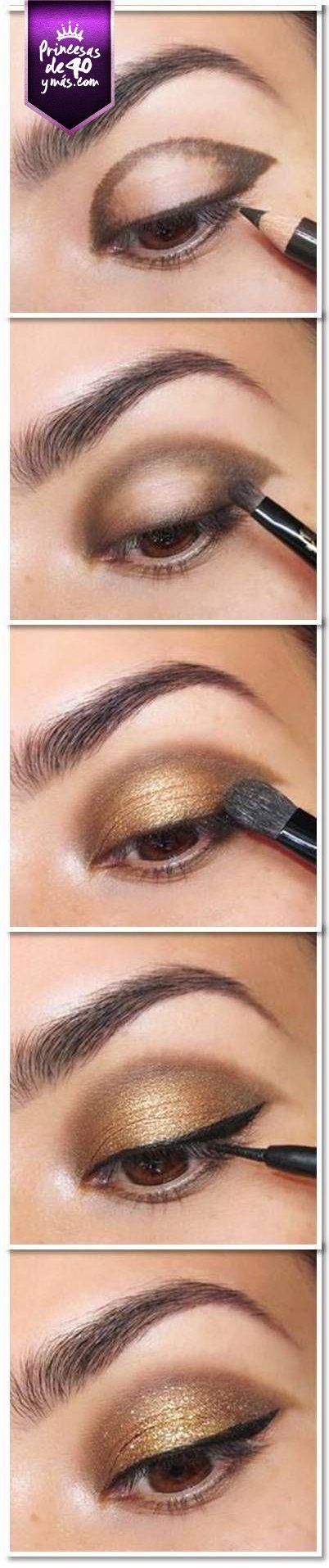 Aquí un tutorial detallado para llenar tus ojos de luz. #PrincesasDe40 #eyes #makeup #Diy