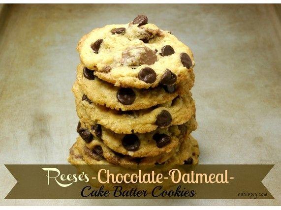 Chocolate-Oatmeal-Cake Batter Cookies   Recipe   Cake Batter Cookies ...