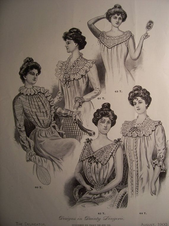 VICTORIAN LINGERIE FASHIONS /1900s Pattern Advertisement Lingerie Frocks Victorian Dresses Edwardian Costumes Vintage Fashions via Etsy