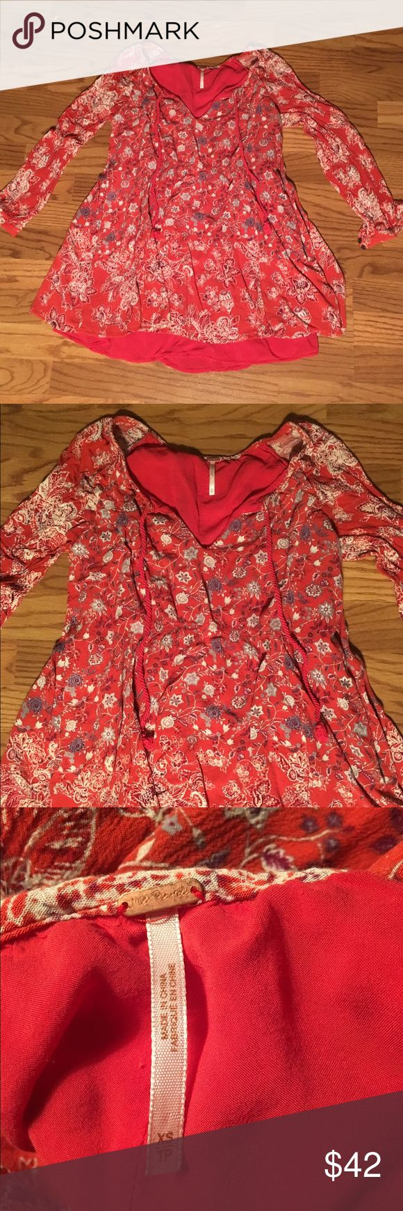 Free people paisley patterned boho peasant dress Long sleeve Flowy blue and white flowered coral colored dress Free People Dresses Mini