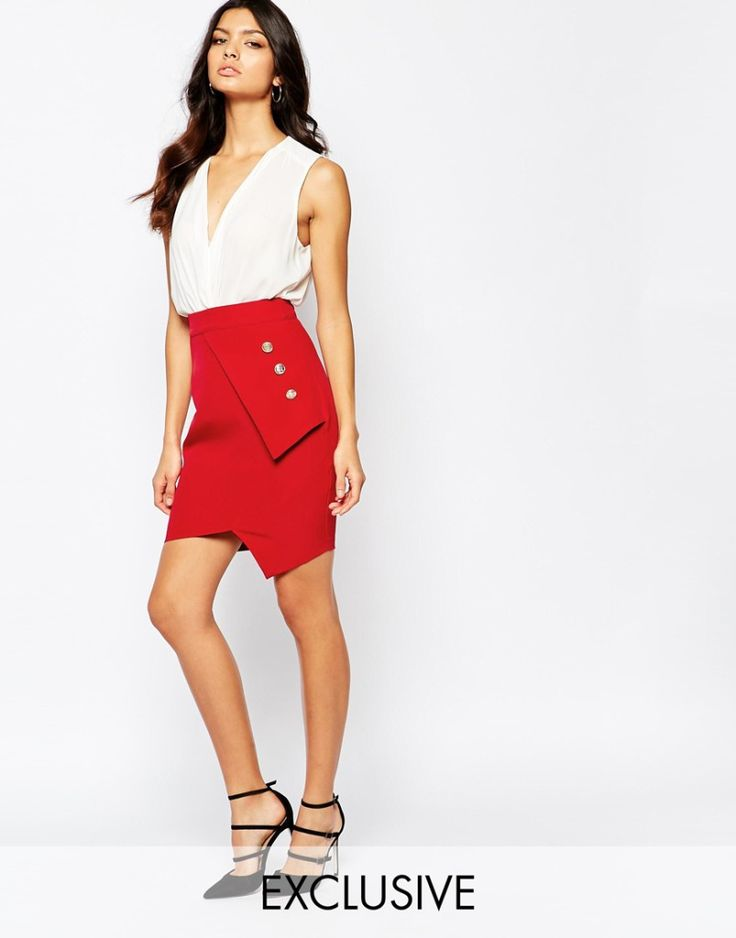 Vesper Pleated Mini Skirt with Gold Button Detail. Red sexy skirt. More skirts to wear this fall >>> http://justbestylish.com/10-stylish-skirts-to-wear-this-fall/
