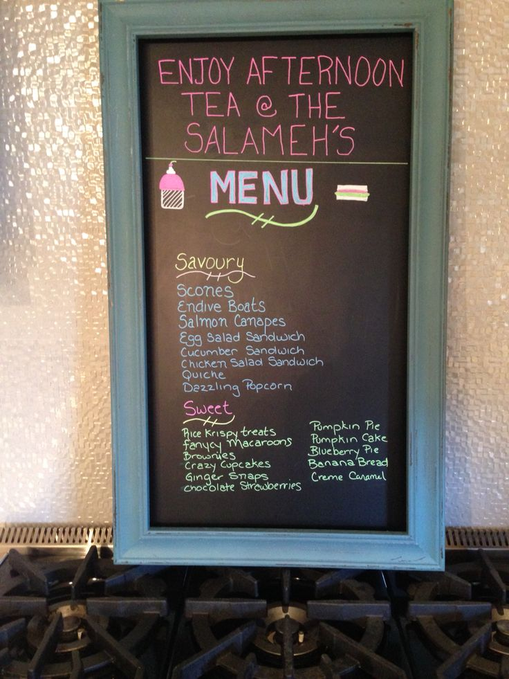 Afternoon tea chalkboard menu
