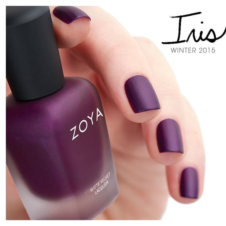 Iris by Zoya Nail Polish is a deep amethyst with a fuchsia pearl fleck in the traditional MatteVelvet finish.
