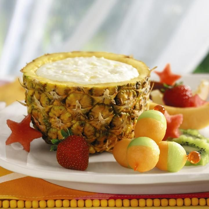 Pineapple Yogurt Dip: 8 oz cream cheese, softened, 8 oz fat-free plain yogurt, 8 oz can crushed pineapple, drained well, 1/2 cup sugar. Mix and pour into hollowed-out pineapple.