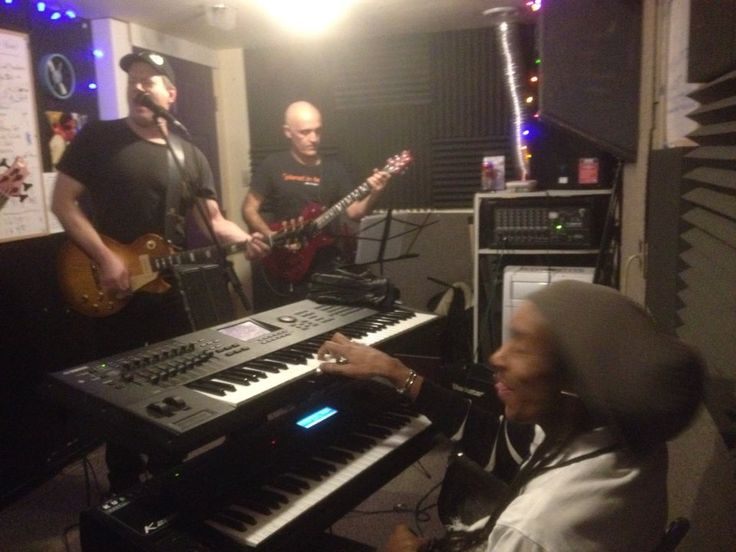 Rehearsal time — with Timmy Jay, Chris Birkett and Dezi Fingazz Photo used by permission..