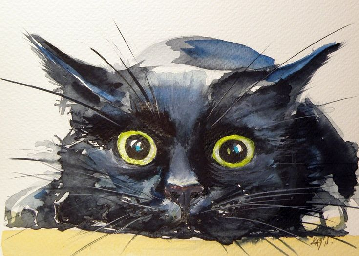 ARTFINDER: Hunter cat by Kovács Anna Brigitta - Original watercolour painting on high quality watercolour paper. I love landscapes, still life, nature and wildlife, lights and shadows, colorful sight. Thes...