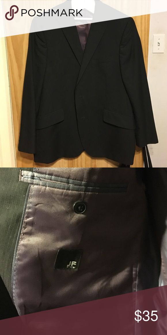 Men's black suit jacket Worn once or twice. Black with faint pinstripes. Two buttons to close in front. Modern fit jf j.ferrar Suits & Blazers Suits