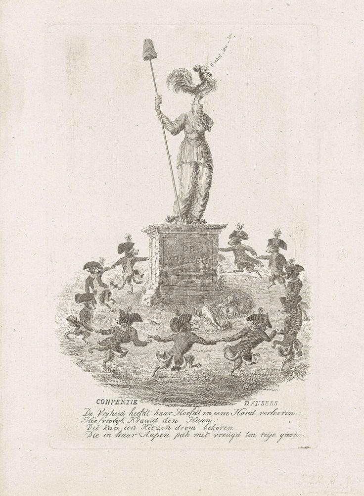 Anonymous | Spotprent op de hoop van de patriotten op Franse hulp, 1793, Anonymous, 1787 | Spotprent op de hoop van patriotten in 1793 op steun vanuit Frankrijk bij de Nationale Conventie. Een groep keeshonden in uniformen van een vrijkorps doet een rondedans rondom een standbeeld van de Vrijheid. Het hoofd van het beeld van de Vrijheid is afgebroken en vervangen door een kraaiende Franse haan. Met vierregelig vers.