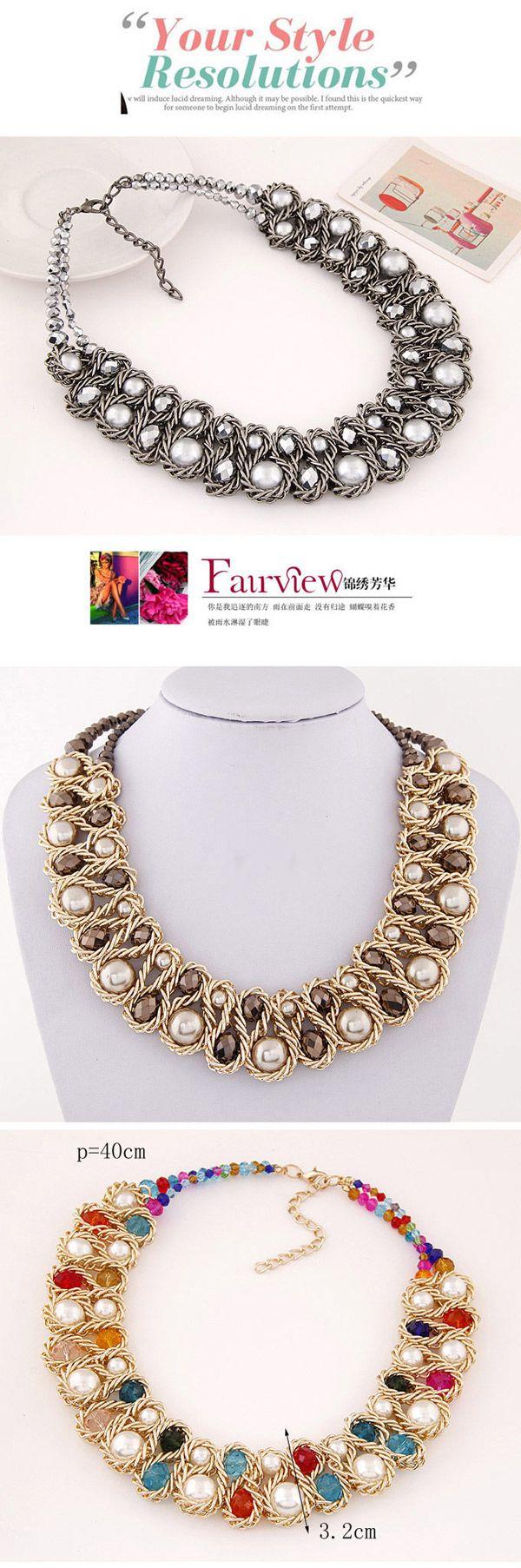 Luxurious White & Blue Beads Decorated Weave Design Alloy Bib Necklaces,Bib Necklaces
