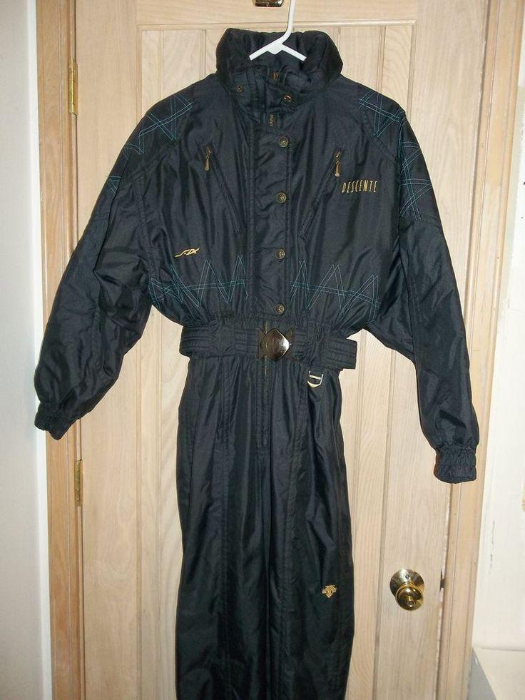 DESCENTE Black Insulated 5 Snap 1/2 Zip 1 Piece Ski Snow Suit w/ Hood Size 6-8 #Descente