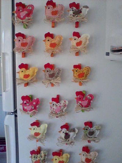Blog de andrearteemtecido :Arte em tecido da Andréa, Galinha imã de geladeira