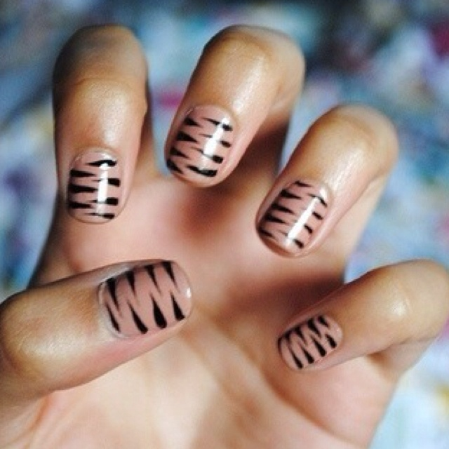Nude nails with Zebra Print