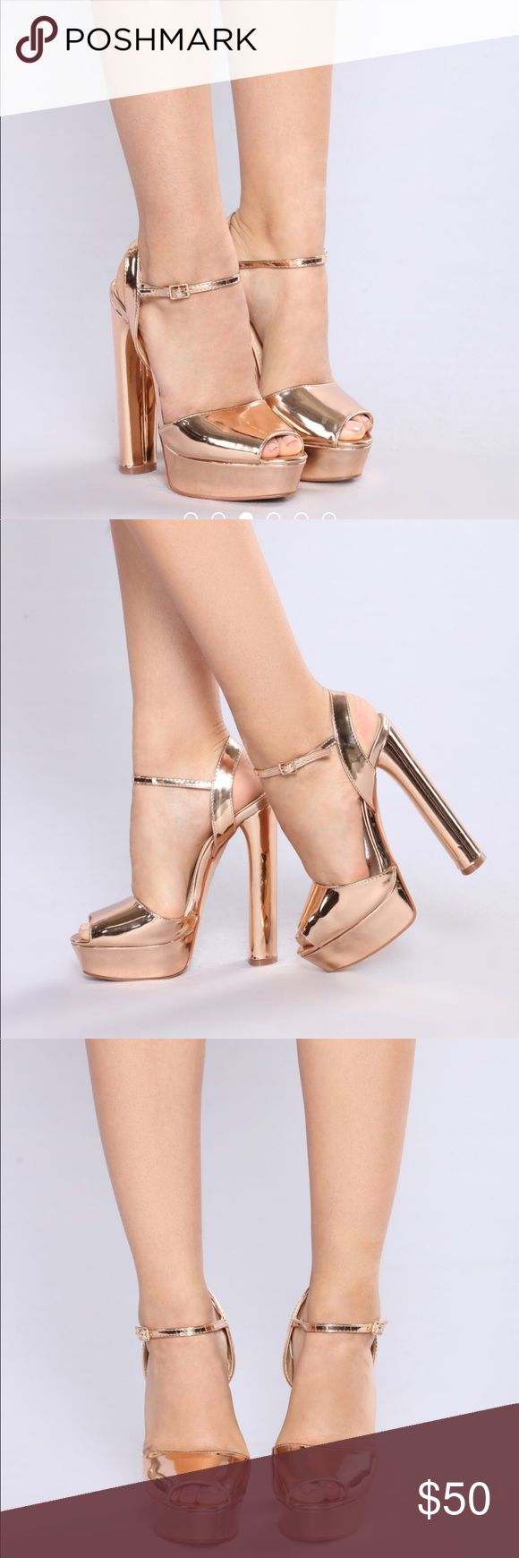 New rose gold platform heels size 7 Brand new! Never worn. Gorgeous and comfortable height booster platform heels in Rose Gold metallic mirror shine color. 6inch cylinder heels. Comfortable and makes you super tall! Adjustable Ankle strap. True to Size women's 7 Shoes Heels