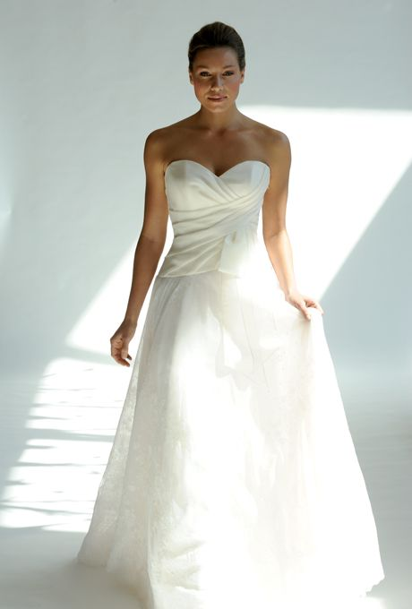 """Brides.com: Junko Yoshioka - Spring 2013. """"Misty"""" strapless satin and lace A-line wedding dress with a pleated sweetheart bodice, Junko Yoshioka  See more Junko Yoshioka wedding dresses in our gallery."""