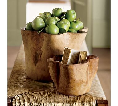 Potery Barn Wood Carved Vessel: Idea, Wooden Bowls, Apple, Hand Carved Wood, Wood Bowls, Kitchen, Pottery Barn, Woods