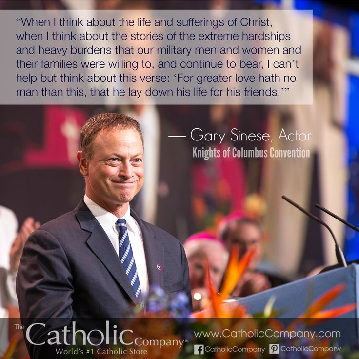 Actor Gary Sinise was a surprise guest at the #KnightsofColumbus annual convention in Orlando last week. He spoke about his love for wounded veterans and a new collaboration between the Knights and his own charitable foundation - and he's a #Catholic convert! He was received into the Church on Christmas Eve, 2010.