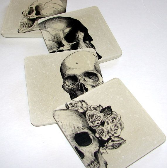 set of 4 concrete skull #coasters