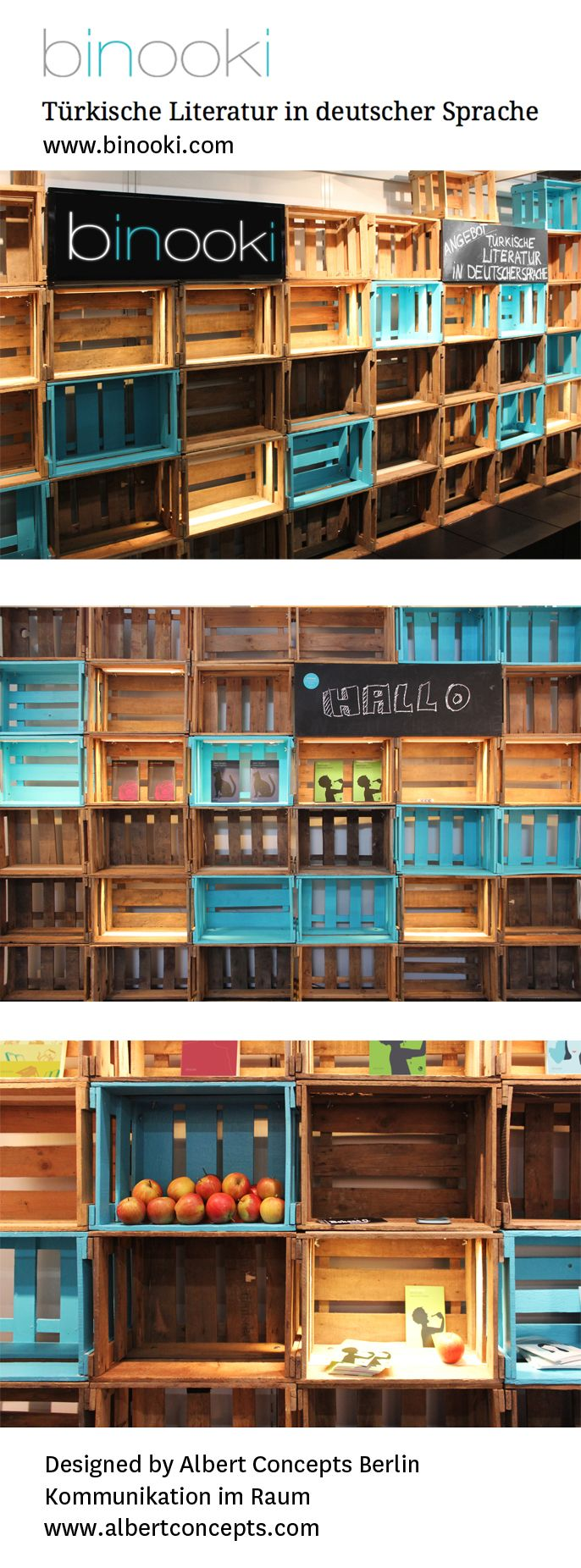 Albert Concepts Interior Architects in Berlin designed this rustic trade fair stand for Binooki publishing using wooden wine boxes and splashes of colour to catch the eye. #Weinkisten #Weinkiste #Interior #Interiordesign #expo #Display #homedecor #shelf