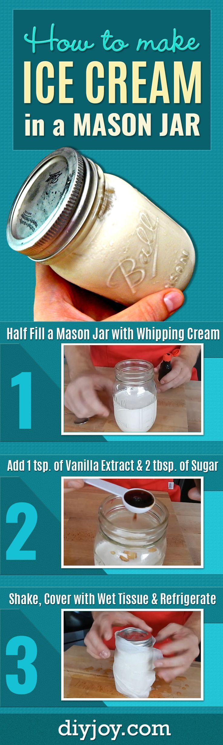 DIY Ice Cream - How To Make Homemade Ice Cream in a Mason Jar - Best Dessert Recipes and Easy Ideas for Desserts