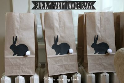 While Wearing Heels: Bunny Favor Bags. Cute.