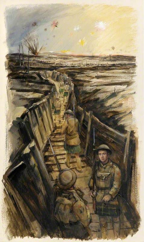 British/Scottish  WW1  Gordons in the Trenches, by Eric Auld. The Gordon Highlanders Museum. [c. 1916 prior to the Somme campaign Gordon Higlanders began using the steel helmet.]